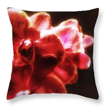 Throw Pillow featuring the photograph Red Phalaenopsis by Isabella F Abbie Shores FRSA