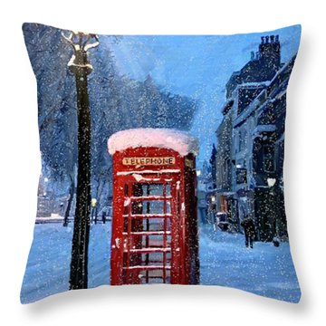 Throw Pillow featuring the painting Red Phone Box by James Shepherd