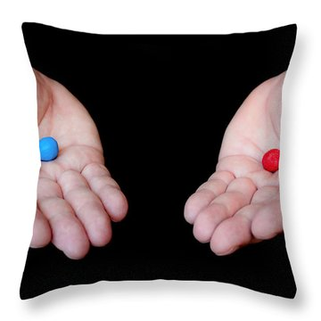 Red Pill Blue Pill Throw Pillow by Semmick Photo