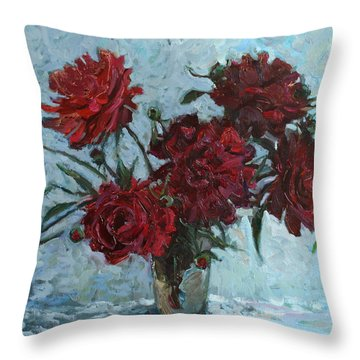 Red Piones Throw Pillow