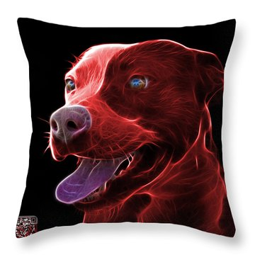 Red Pit Bull Fractal Pop Art - 7773 - F - Bb Throw Pillow by James Ahn