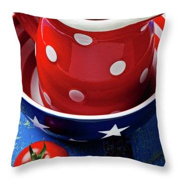 Red Pitcher And Tomato Throw Pillow by Garry Gay