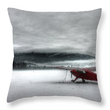Red Plane In A Monochrome World Throw Pillow