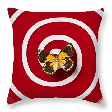 Red Plate And Yellow Black Butterfly Throw Pillow