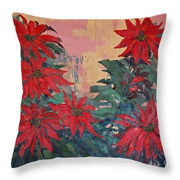 Red Poinsettias By George Wood Throw Pillow