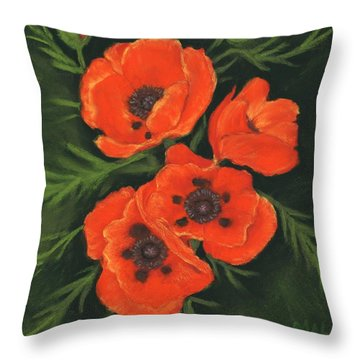 Throw Pillow featuring the painting Red Poppies by Anastasiya Malakhova
