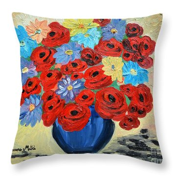 Red Poppies And All Kinds Of Daisies  Throw Pillow