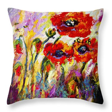 Red Poppies And Bees Provence Dreams Throw Pillow by Ginette Callaway