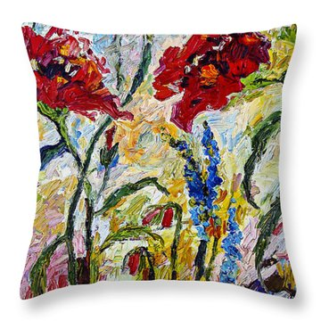 Red Poppies And Bees Provence Throw Pillow