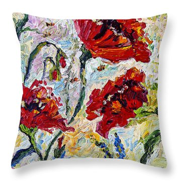 Throw Pillow featuring the painting Red Poppies And Bees Provence by Ginette Callaway