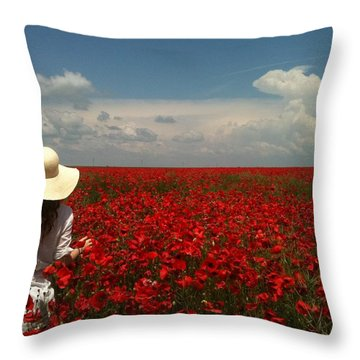 Red Poppies And Lady Throw Pillow