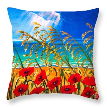 Red Poppies And Sea Oats By The Sea Throw Pillow