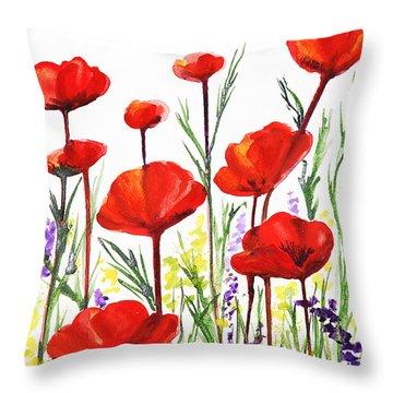 Red Poppies Art By Irina Sztukowski Throw Pillow