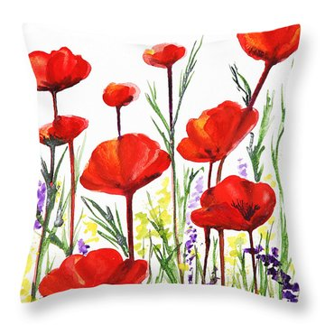 Throw Pillow featuring the painting Red Poppies Art By Irina Sztukowski by Irina Sztukowski
