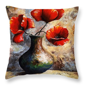 Red Poppies Throw Pillow by Emerico Imre Toth