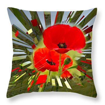 Red Poppies Go Digital Throw Pillow