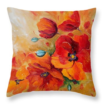 Red Poppies Impressionist Abstract Painting By Artist Ekaterina Chernova Throw Pillow