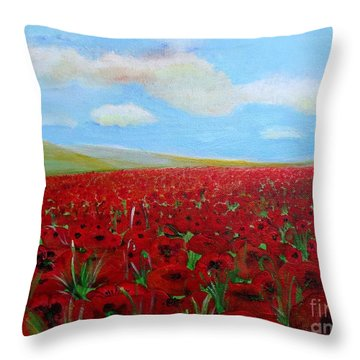 Red Poppies In Remembrance Throw Pillow