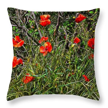 Red Poppies In The Hedgerow Throw Pillow