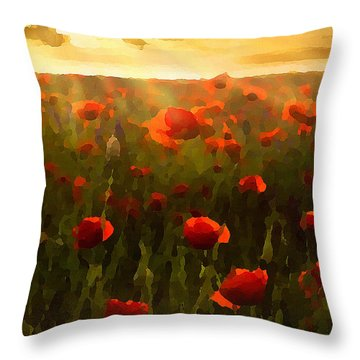 Red Poppies In The Sun Throw Pillow