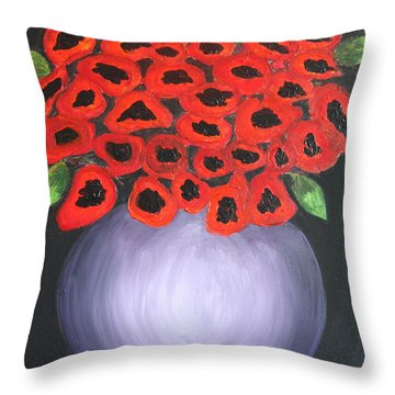 Throw Pillow featuring the painting Red Poppies  by Jolanta Anna Karolska