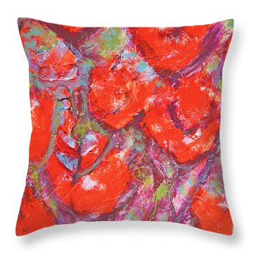 Red Poppies Throw Pillow by Gallery Messina