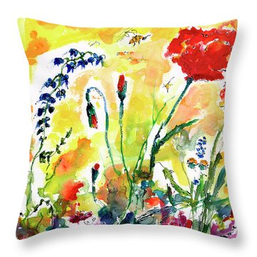 Red Poppies Provence 2017 Throw Pillow