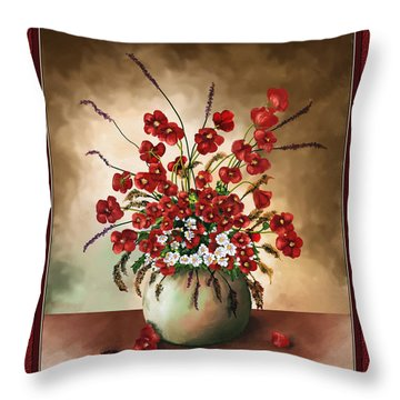 Throw Pillow featuring the digital art Red Poppies by Susan Kinney
