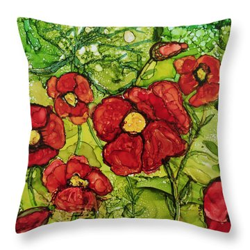 Throw Pillow featuring the painting Red Poppies by Suzanne Canner