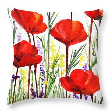 Throw Pillow featuring the painting Red Poppies Watercolor By Irina Sztukowski by Irina Sztukowski