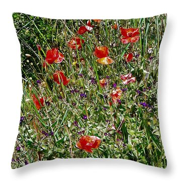 Red Poppies With Purple Wildflowers Throw Pillow