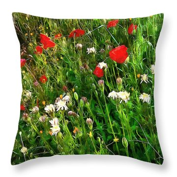 Red Poppy And Wildflower Fantasy Throw Pillow