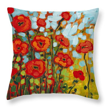 Red Poppy Field Throw Pillow