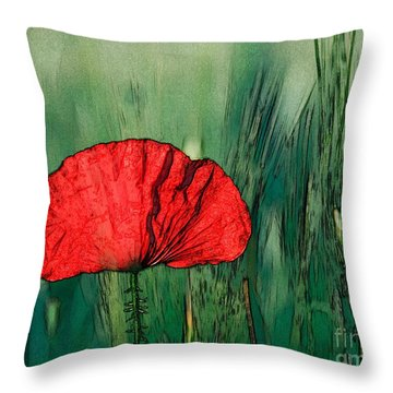Throw Pillow featuring the photograph Red Poppy Flower by Jean Bernard Roussilhe