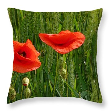 Red Poppy Flowers In Grassland 2 Throw Pillow