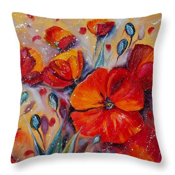 Red Poppy Meadows Throw Pillow