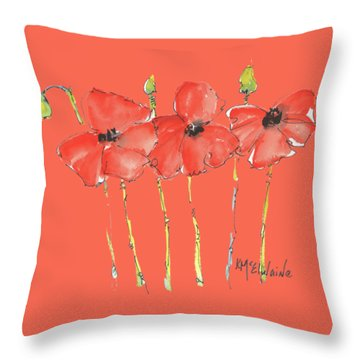 Red Poppy Play Throw Pillow