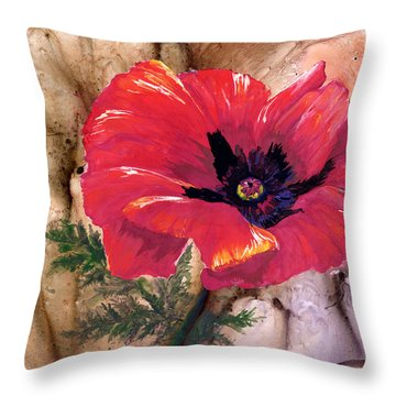 Throw Pillow featuring the painting Red Poppy by Sherry Shipley