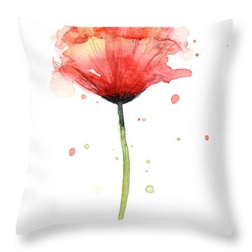 Red Poppy Watercolor Throw Pillow