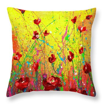 Red Posies Throw Pillow