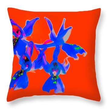 Red Provence Orchid Throw Pillow