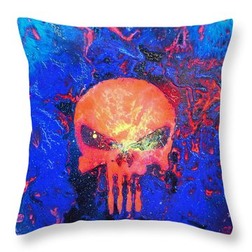 Red Punish Throw Pillow by Justin Moore