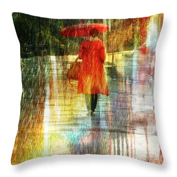 Red Rain Day Throw Pillow