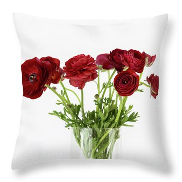 Throw Pillow featuring the photograph Red Ranunculus by Kim Hojnacki