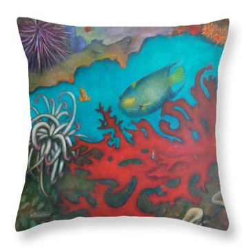 Red Reef Throw Pillow