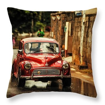 Red Retromobile. Morris Minor Throw Pillow