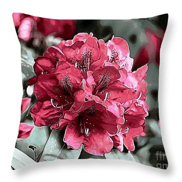 Red Rhodie Throw Pillow by Erica Hanel