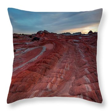 Red Ribbon Sunset Throw Pillow