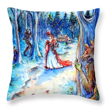 Throw Pillow featuring the painting Red Riding Hood And Werewolves by Heather Calderon