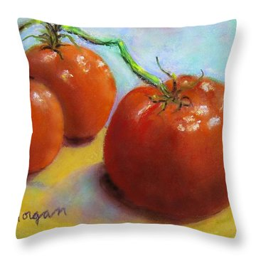 Red Ripe And Ready Throw Pillow by Laurie Morgan